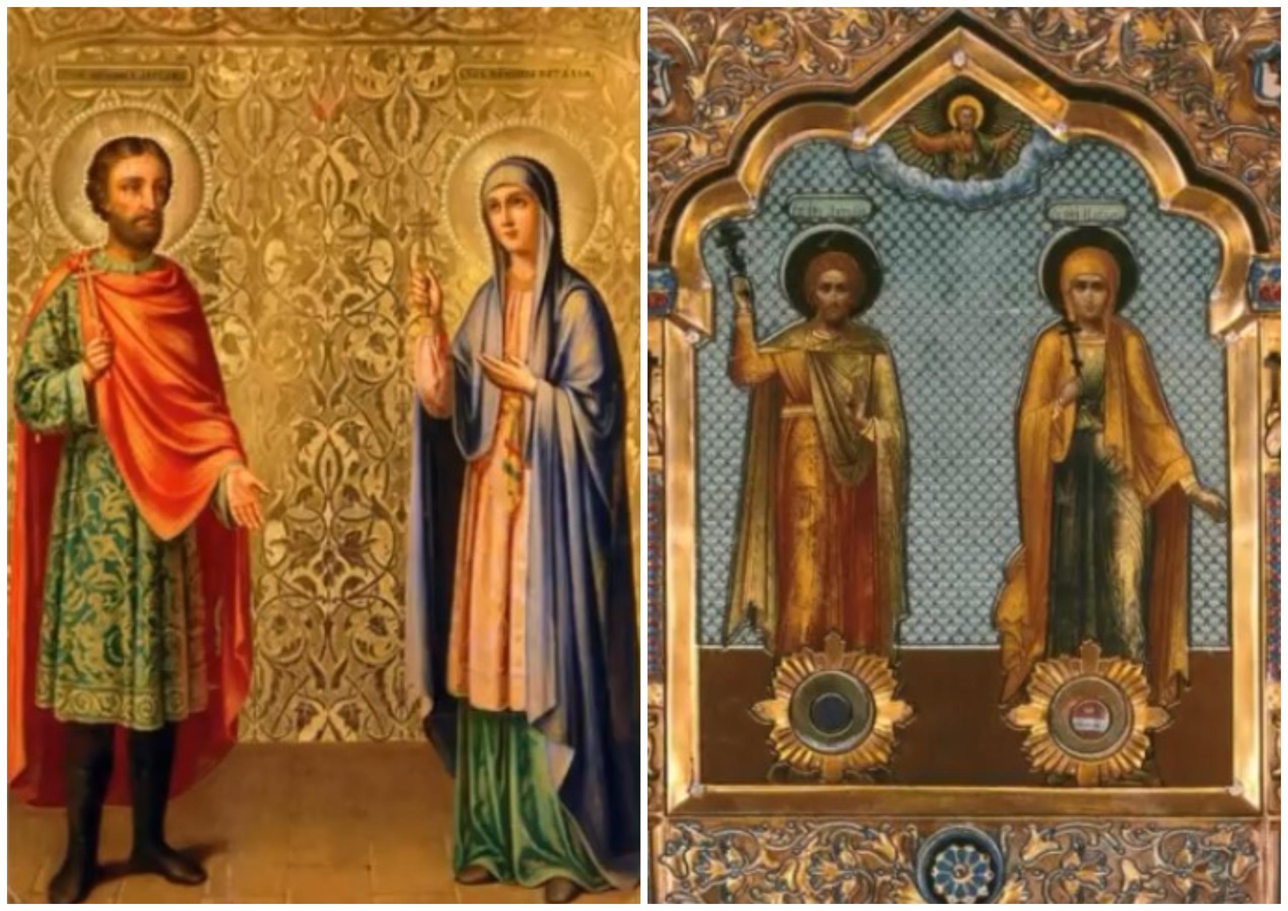 На фото изображены святые Наталия и Андриан.