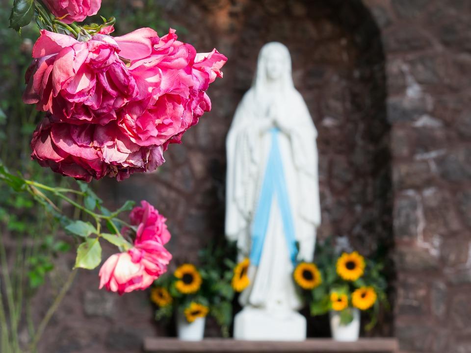 На первом плане фото изображена роза, а на заднем статуя Богородицы.