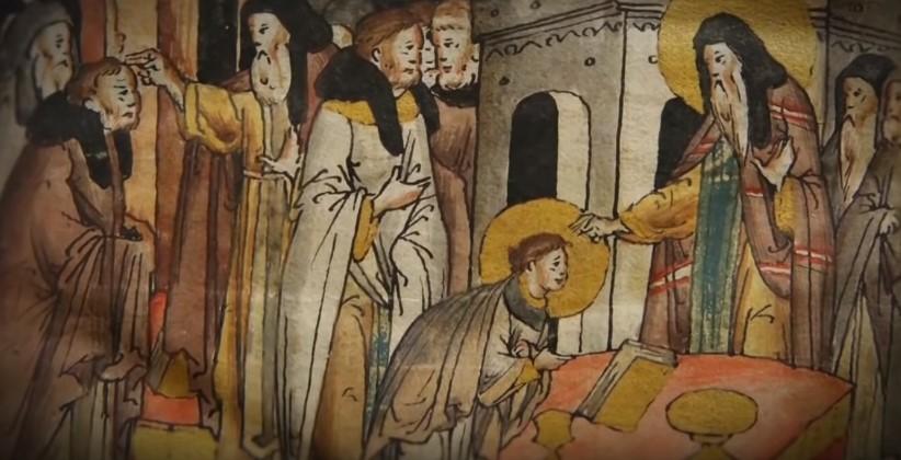 На фото изображен Святой Николай Угодник и люди, собравшиеся вокруг него.