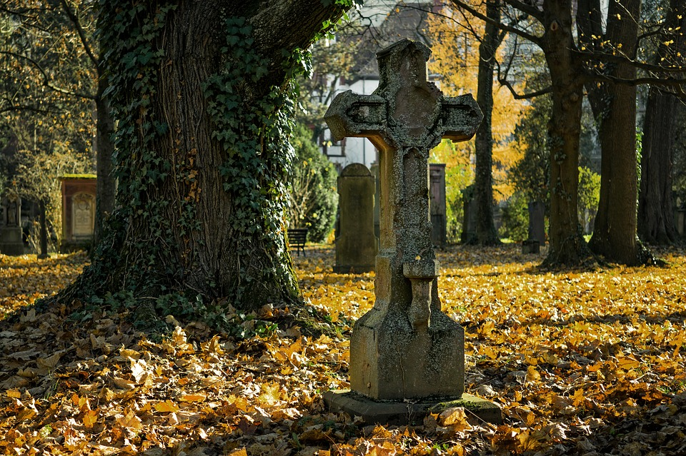 На фото изображено старое кладбище.
