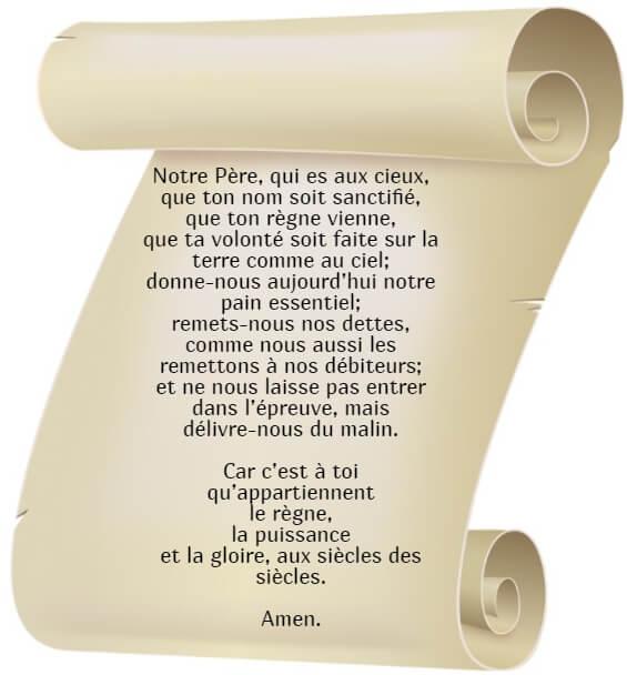 На фото изображена молитва Отче наш на французском языке.