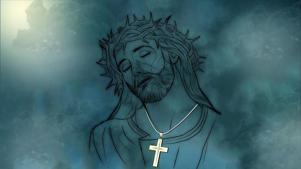 На фото изображен Иисус Христос с нательным христом.