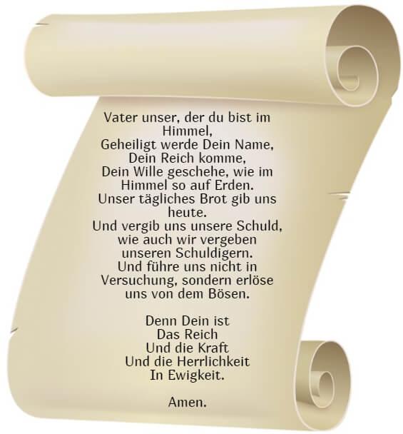 На фото изображен текст молитвы Отче Наш на немецком языке.