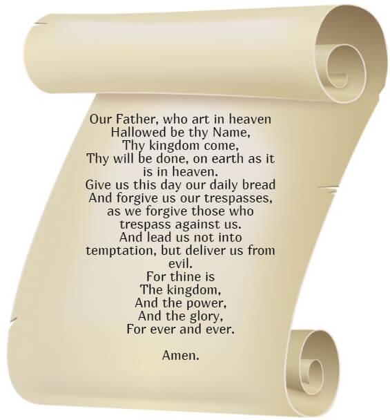 """На фото изображена молитва """"Отче Наш"""" на английском языке."""