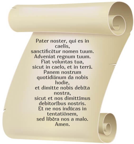 На фото изображена молитва Отче Наш на латыни.