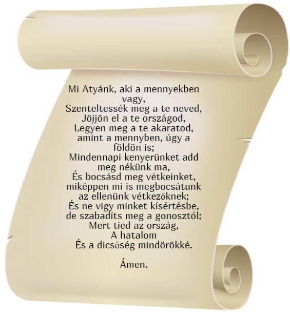 На фото изображен текст молитвы Отче Наш на венгерском языке.