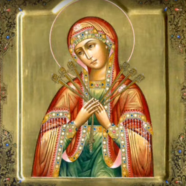На фото изображена Семистрельная икона Божьей Матери.