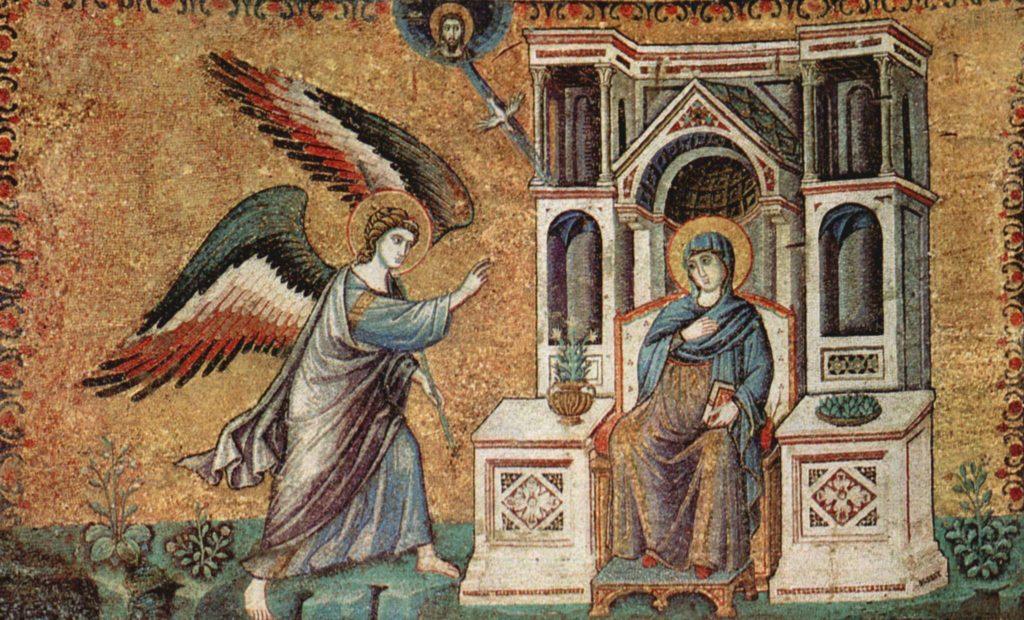 На фото изображено как ангел пришел к Деве Марии.
