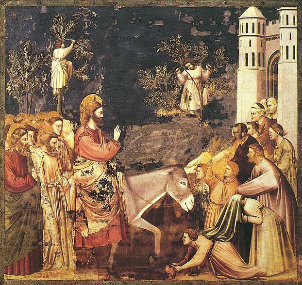 На фото изображен вход Господень в Иерусалим.