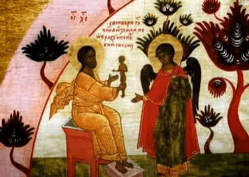 На фото изображено сотворение человека Господом.