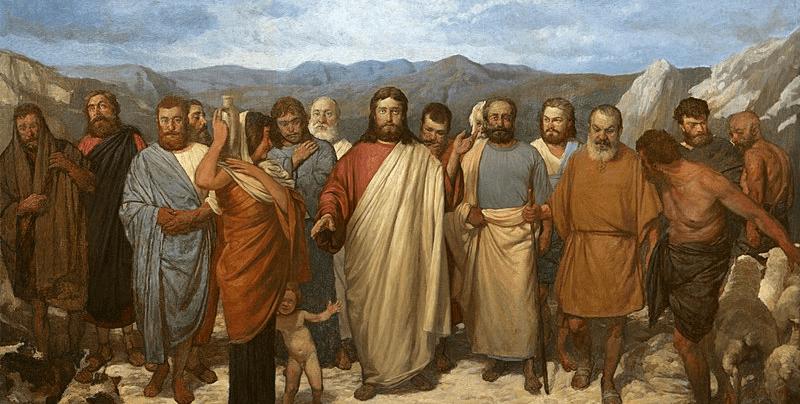 На фото изображен Иисус с учениками.