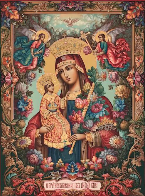 На фото изображена Царица Небесная с Божьим Сыном и цветами в одной руке