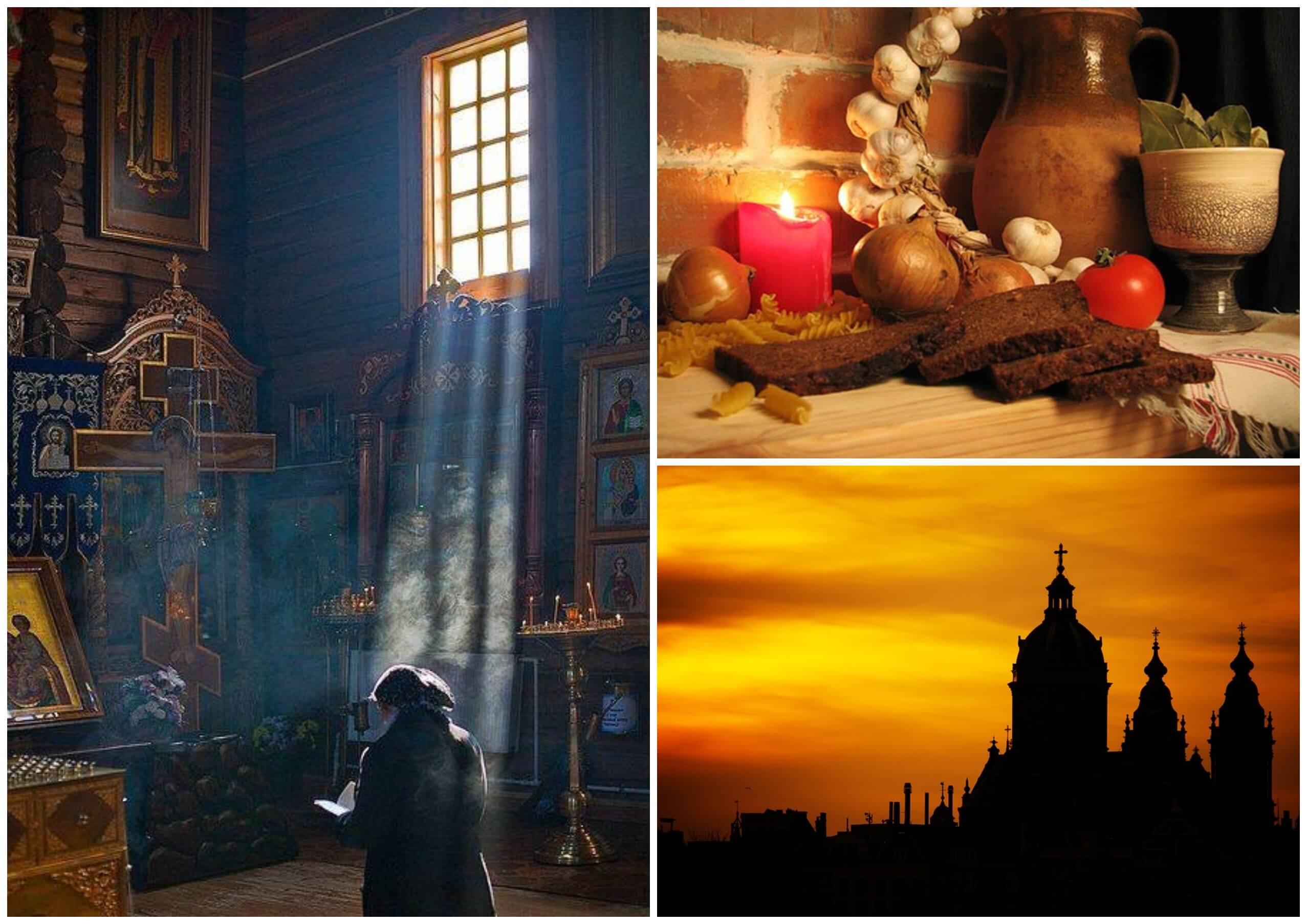 На фото изображены церковь, женщина, которая молится.