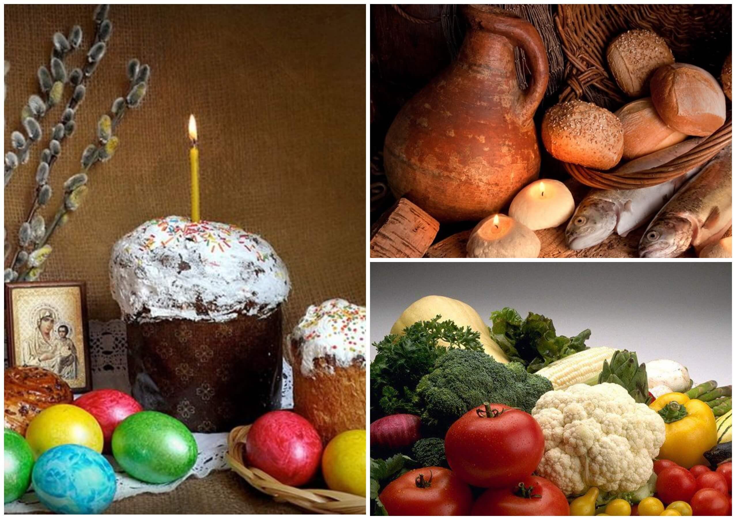 На фото изображены постная пища и пасха со свечей.