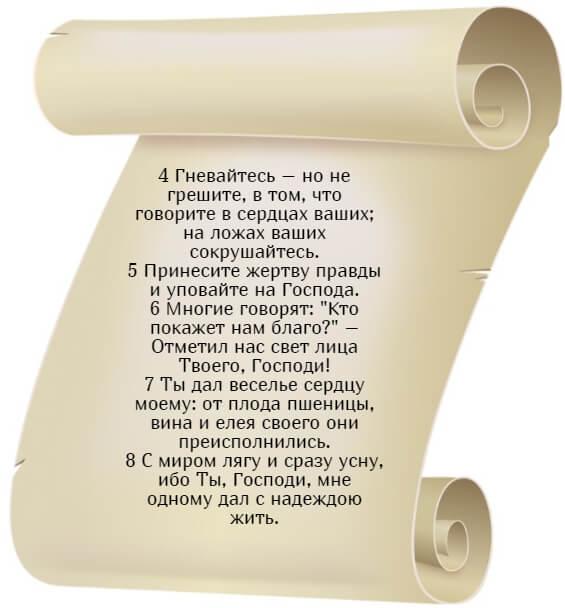 На фото изображен псалом 4 на русском языке. Часть 2.