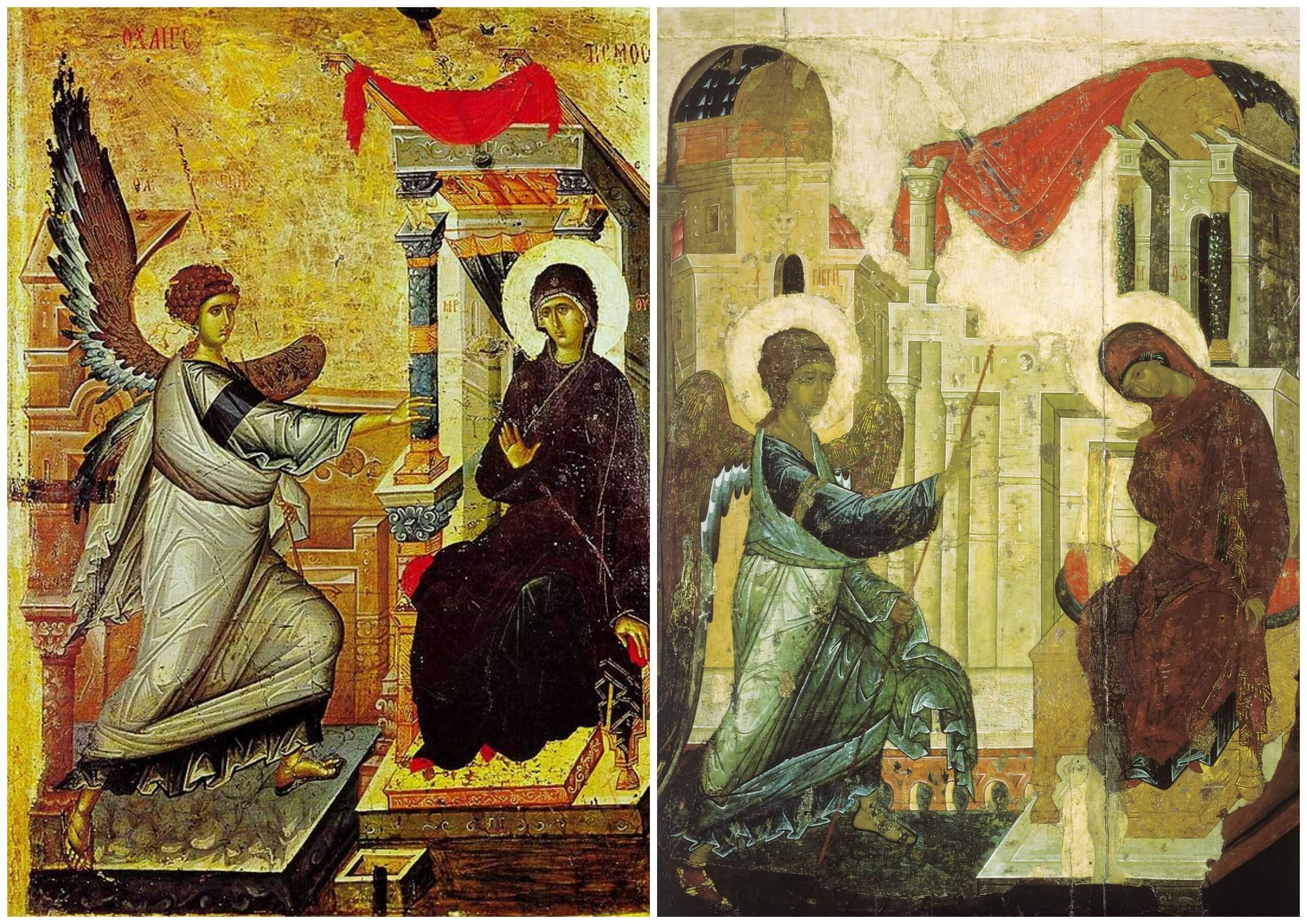 На фото изображены иконы Благовещения.