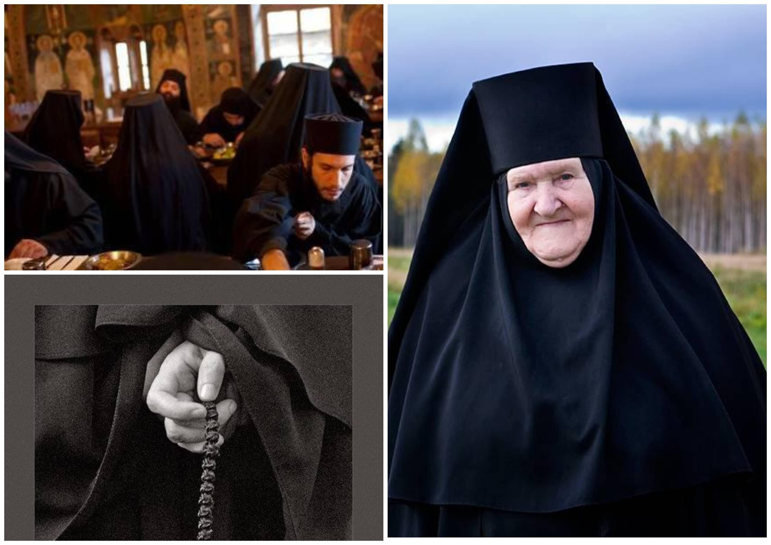 На фото изображена монашка и трапеза монахов.
