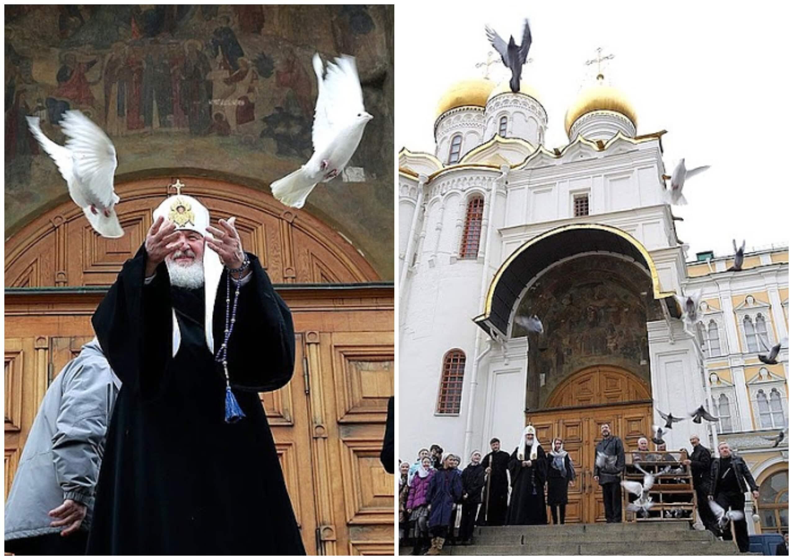 На фото изображено как патриарх запускает в небо голубей.