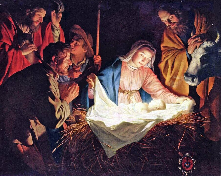 На фото изображено рождение Иисуса.