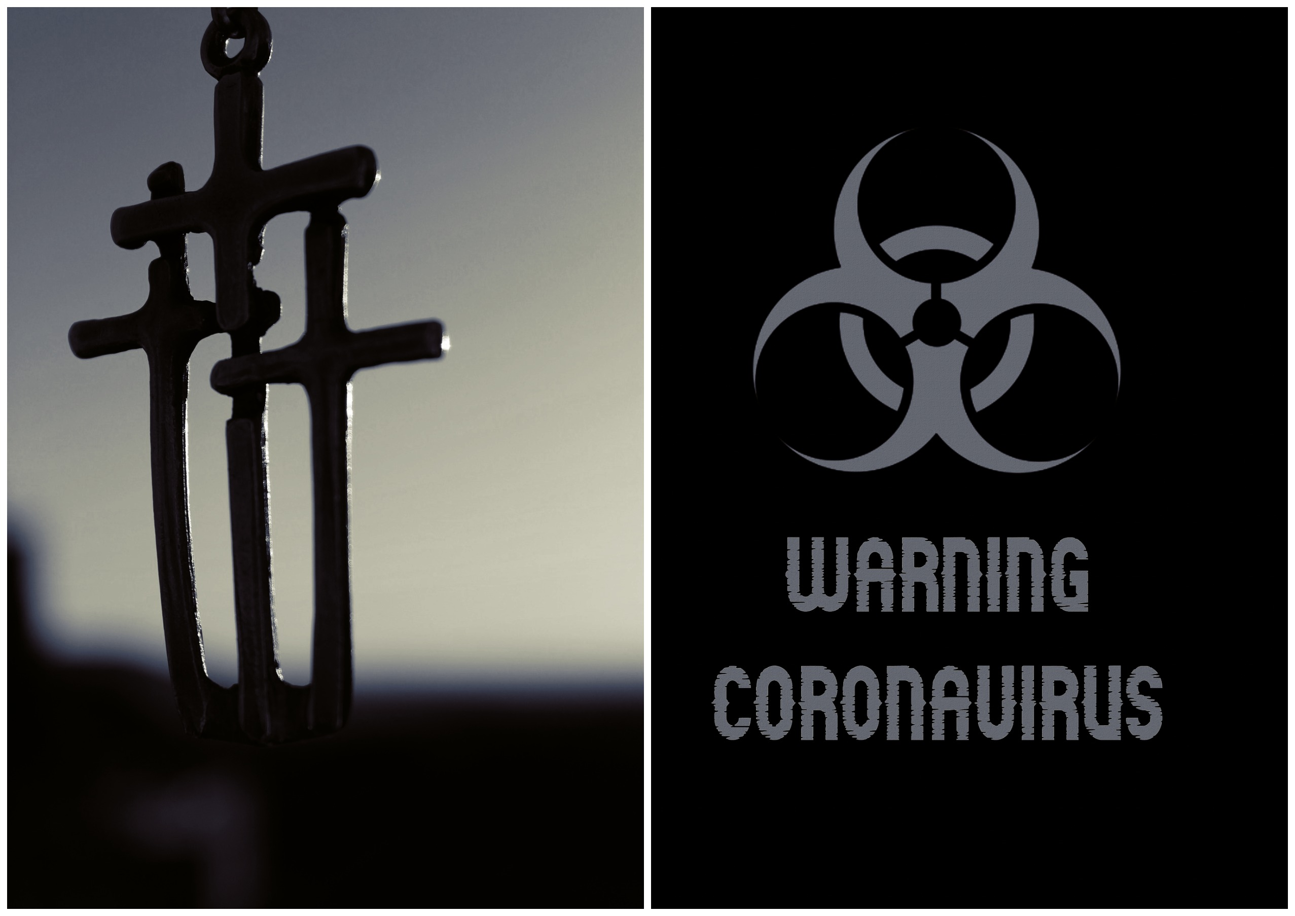 На фото изображены священные кресты и табличка против коронавирусу.
