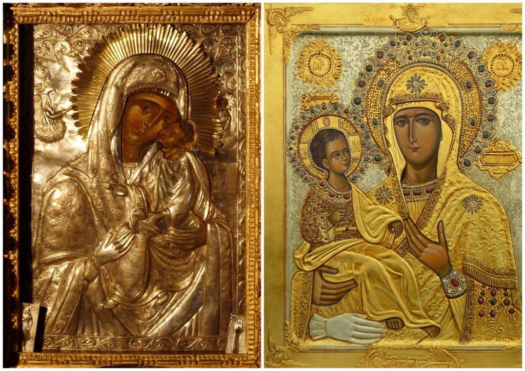 На фото изображены иконы Пресвятой Богородицы.