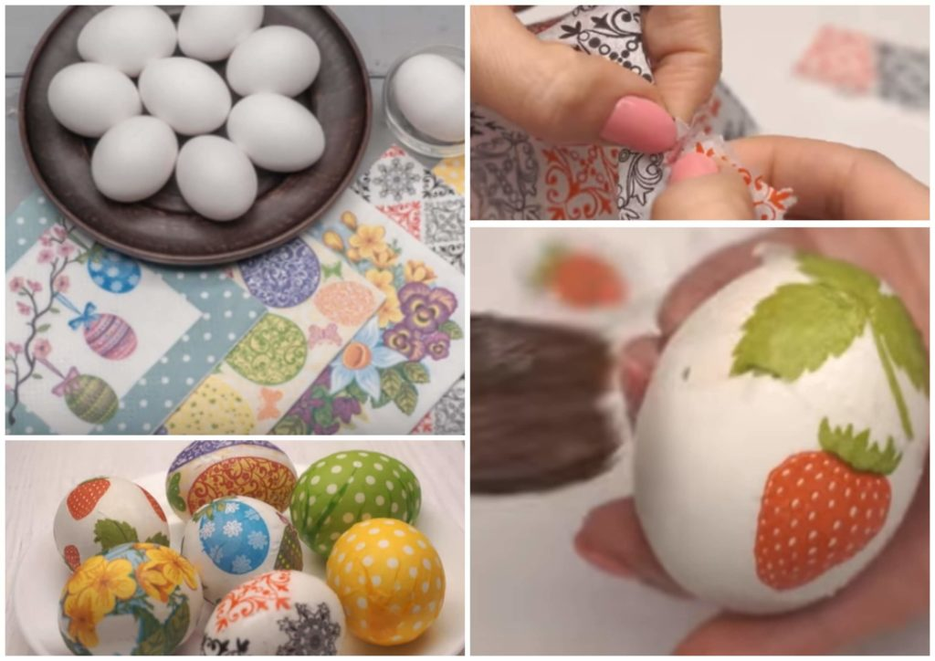 На фото изображен декупаж яиц на Пасху бумажными салфетками.