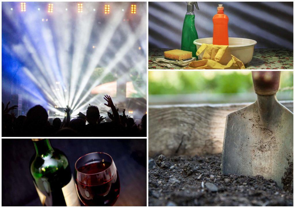 На фото изображена вечеринка в клуюе, средсвта для уборки, вино и лопата в земле.