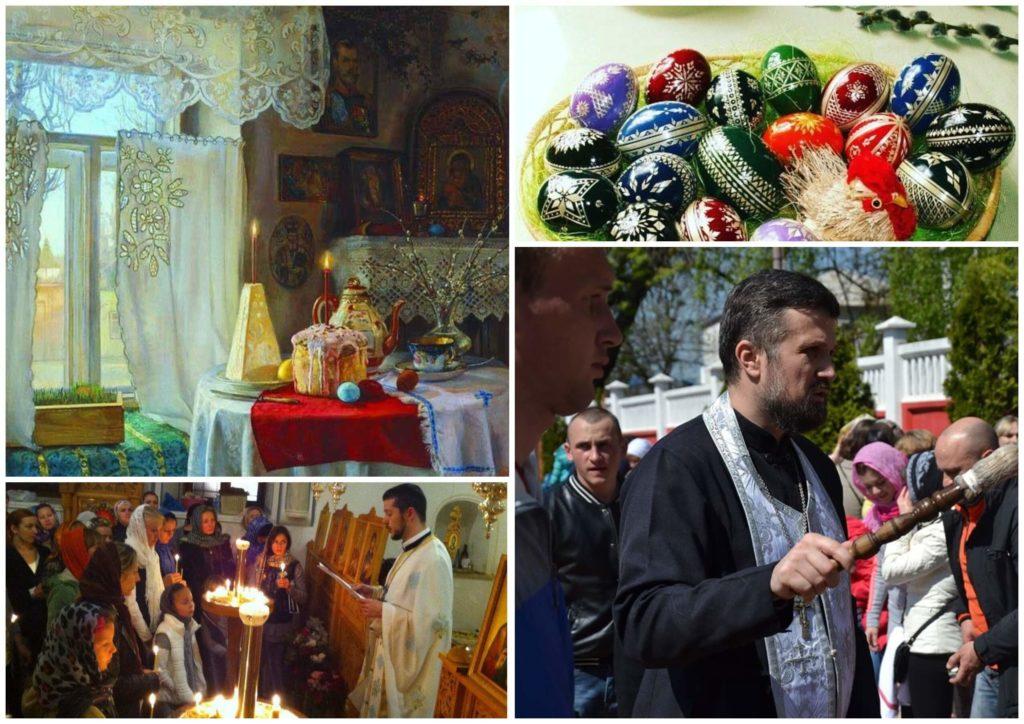 На фото изображена пасхальная служба в церкви, пасха на столе и крашенные яйца.