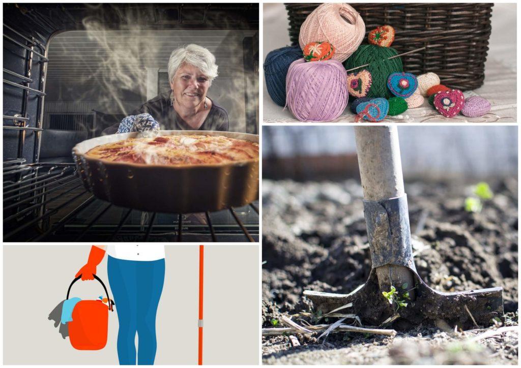 На фото изображены предметы для рукоделия, лопата в огороде, как женщина ставит в духовку пирог и женщина с ведром и шваброй.