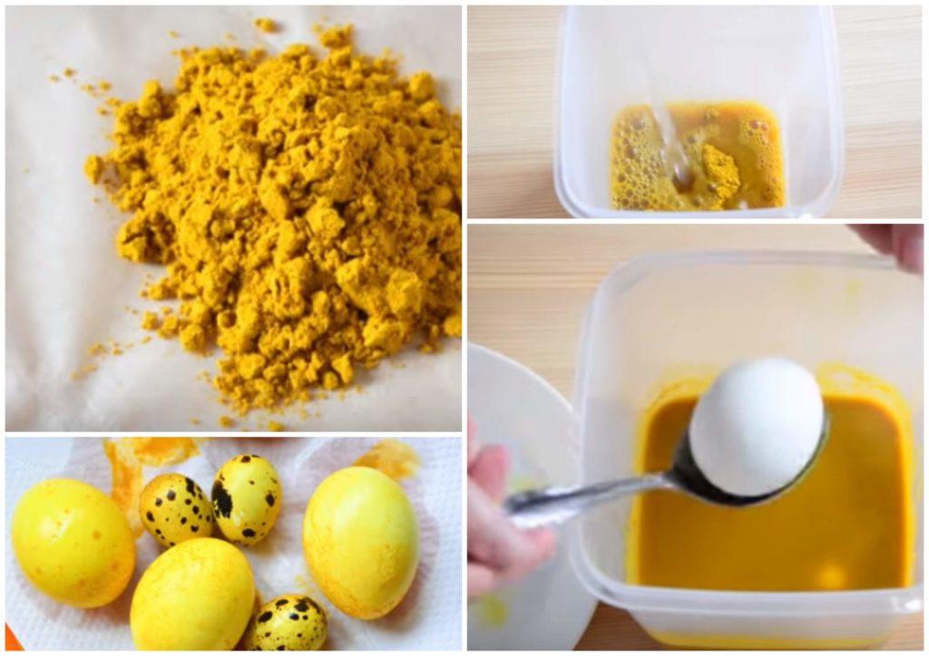 На фото изображено как нужно окрашивать яйца с помощью куркумы.