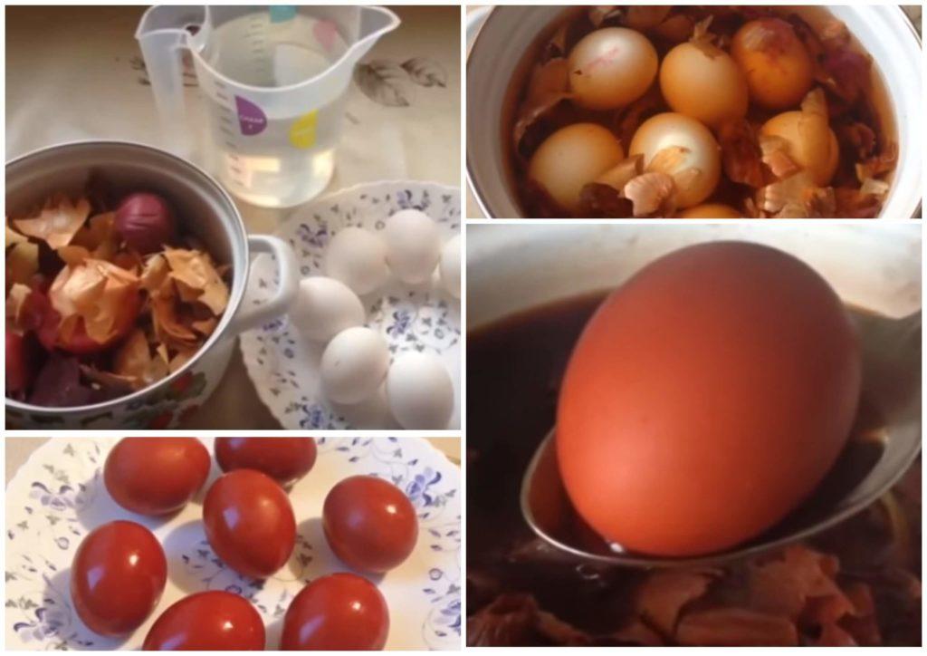 На фото изображен способ окрашивания яиц луковой шелухой.