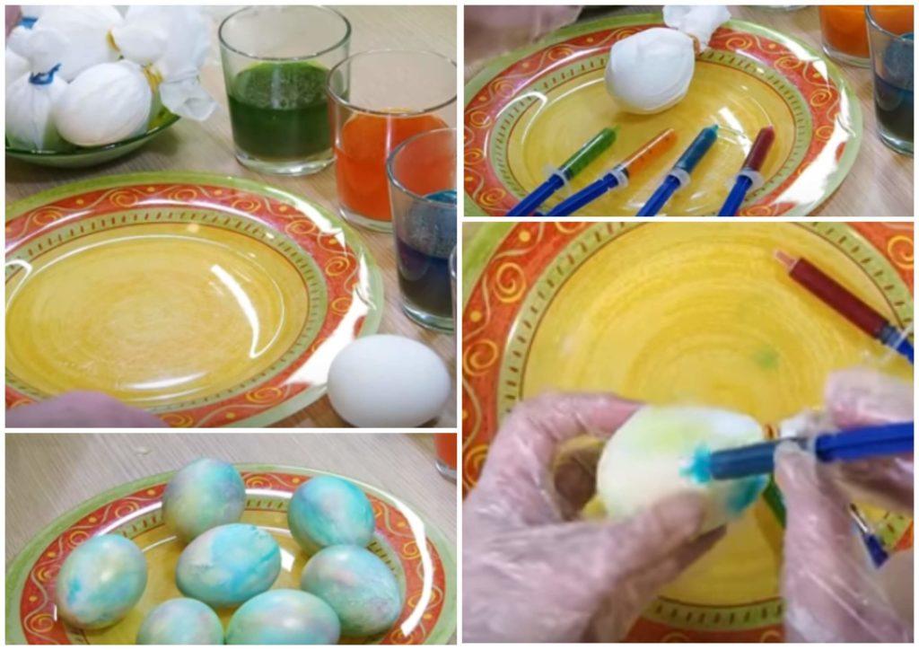 На фото изображен радужный способ окрашивания яиц.
