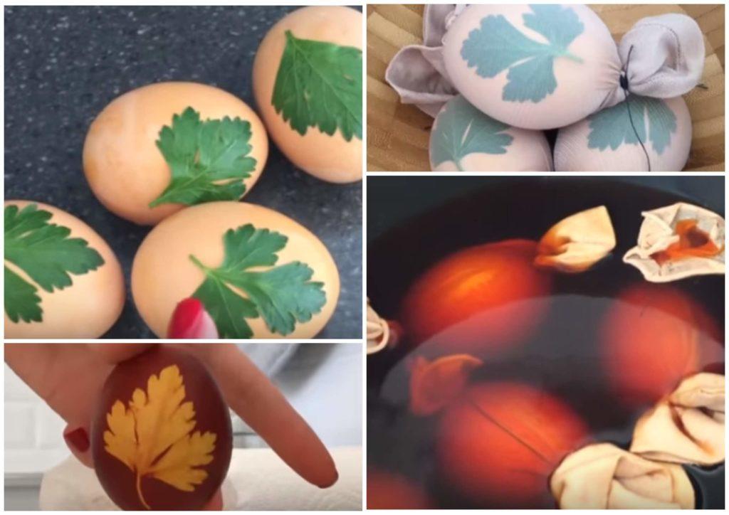 На фото изображено окрашивание яиц шелухой и с рисунком.