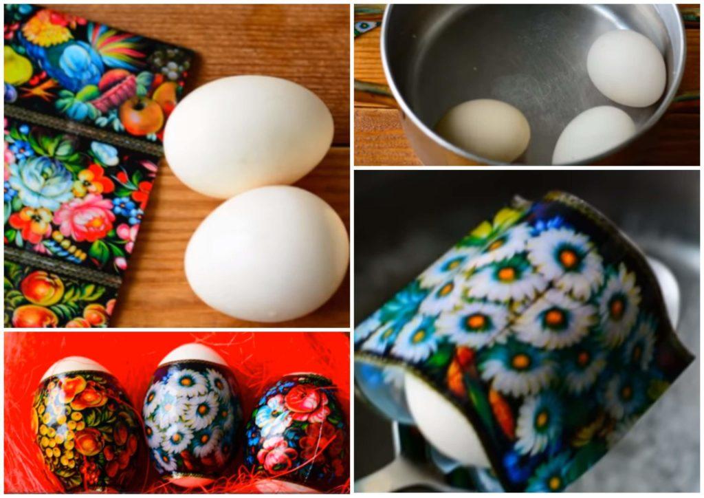 На фото изображено как наклеить термонаклейки на яйца.