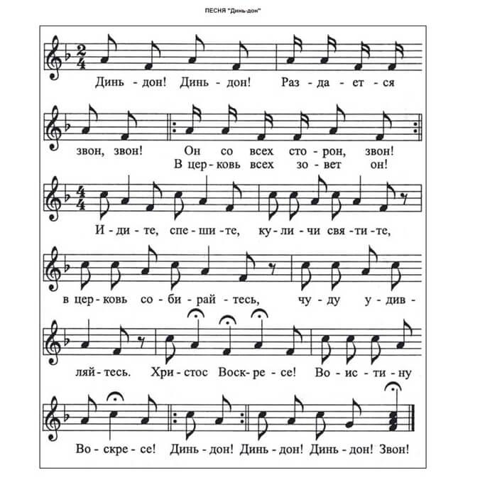 На фото изображены ноты детской песни к Пасхе.
