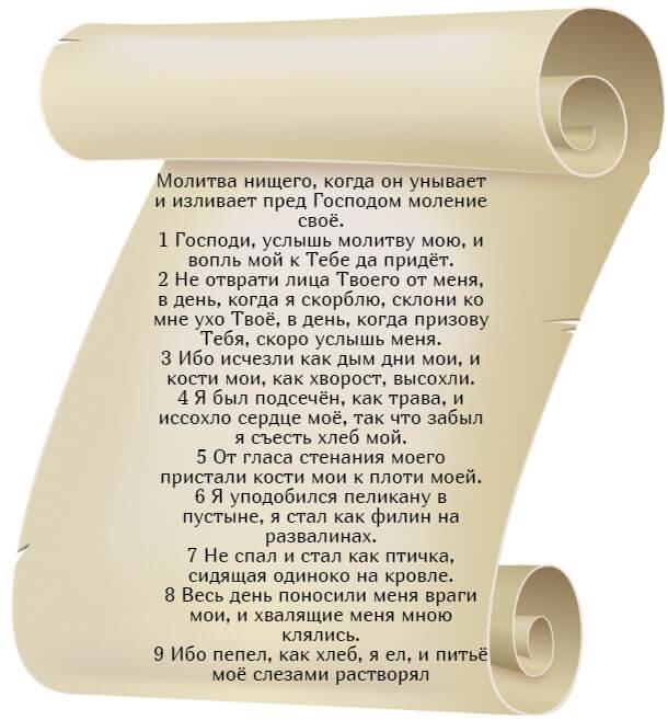 На фото изображен текст псалма 101 на русском языке (часть 1).