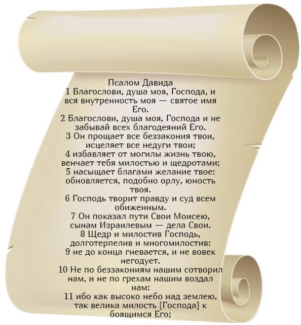 На фото изображен текст псалма 102 на русском языке (часть 1).