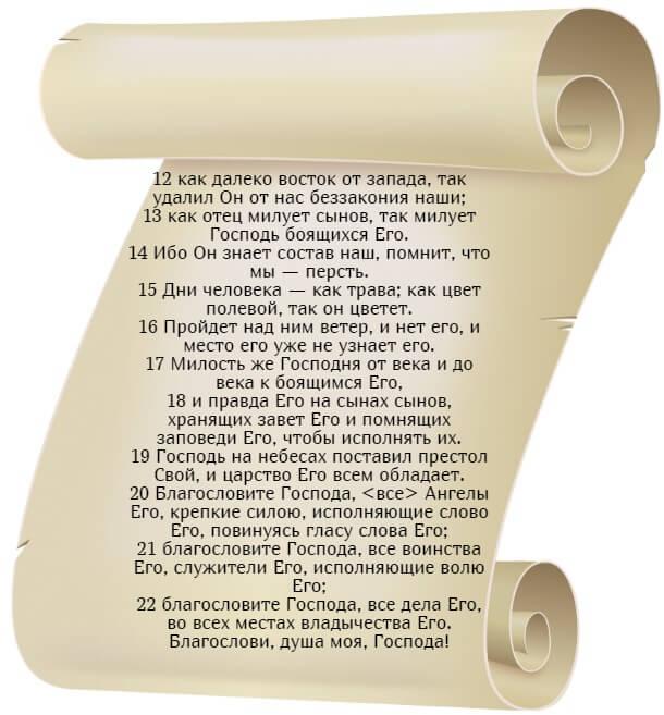 На фото изображен текст псалма 102 на русском языке (часть 2).