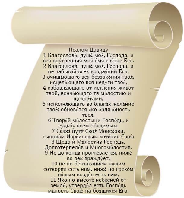 На фото изображен текст псалма 102 на церкновнославянском языке (часть 1).