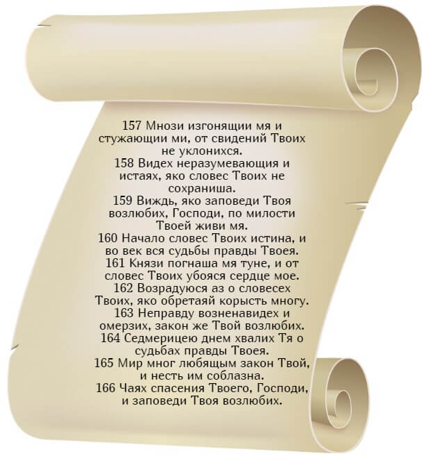 На фото изображен текст псалма 118 на церкновнославянском языке (часть 17).