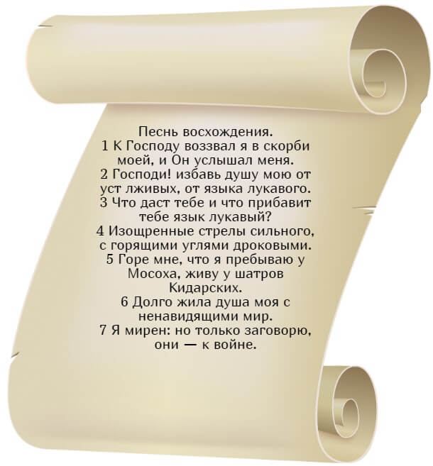 На фото изображен текст псалма 119 на русском языке.