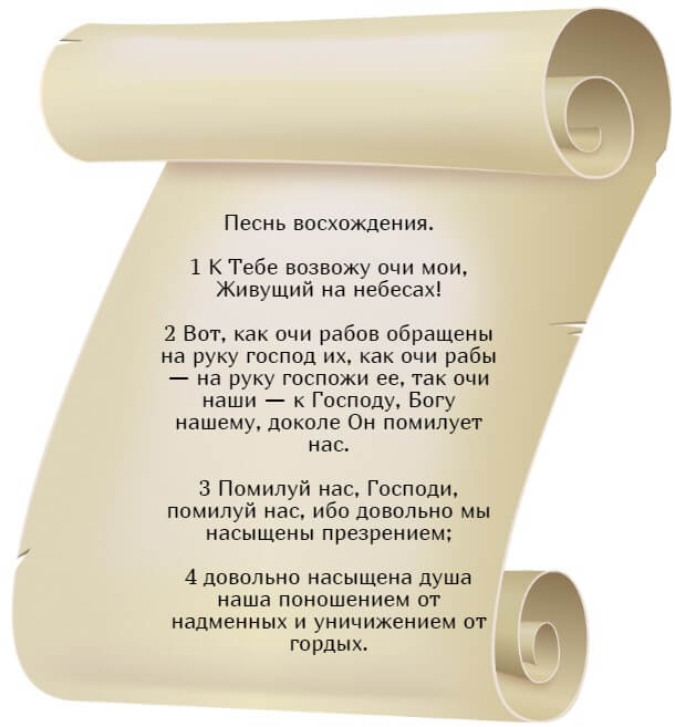 На фото изображен текст псалма 122 на русском языке.