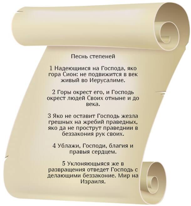 На фото изображен текст псалма 124 на церкновнославянском языке.
