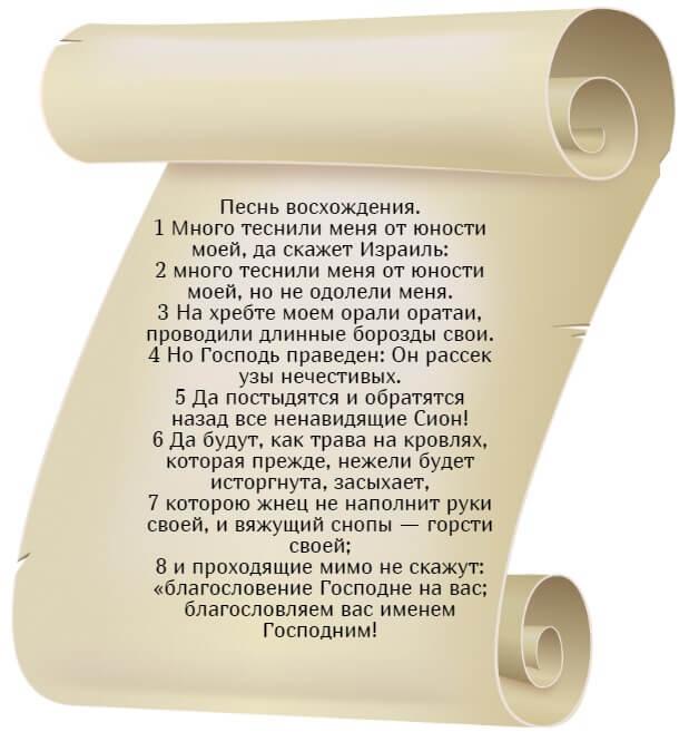 На фото изображен текст псалма 128 на русском языке.
