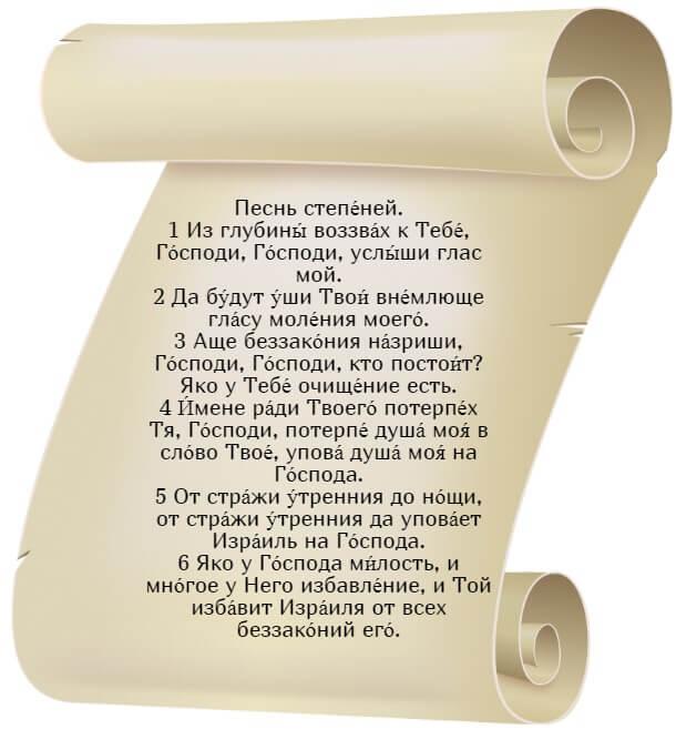 На фото изображен текст псалма 129 на церкновнославянском языке.