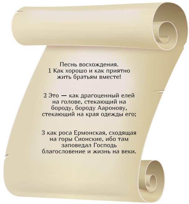 На фото изображен текст псалма 132 на русском языке.