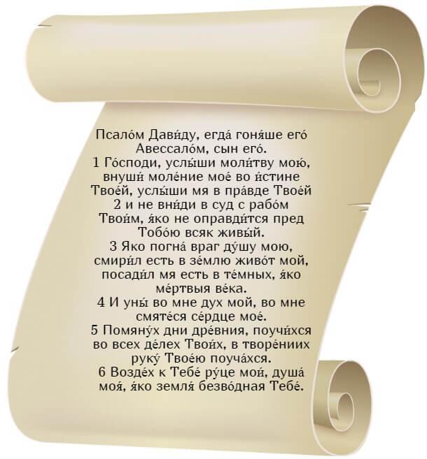 На фото изображен текст псалма 142 на церкновнославянском языке (часть 1).