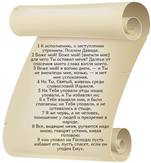На фото изображен текст псалма 21 (часть 1) на русском языке.
