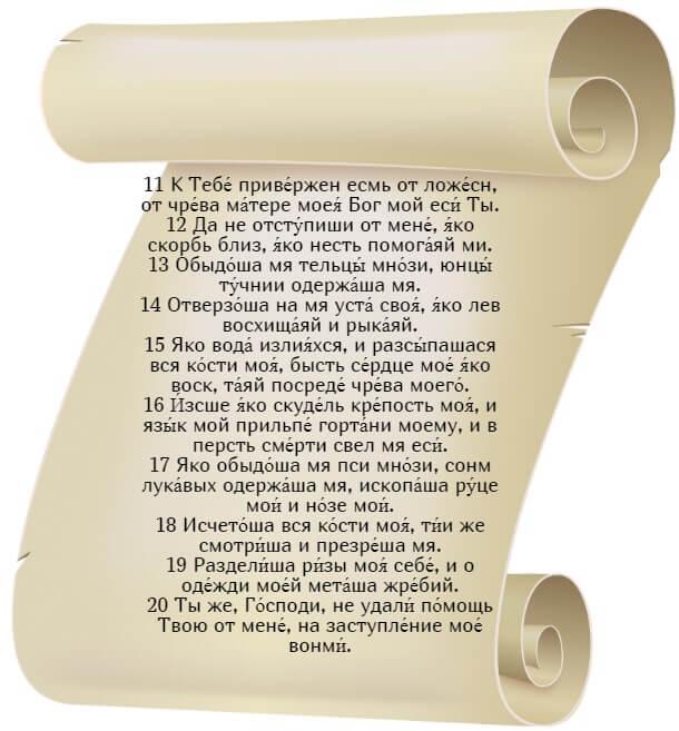 На фото изображен текст псалма 21 (часть 2) на церковнославянском языке.