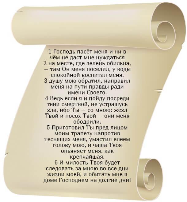 На фото текст псалма 22 на русском языке.